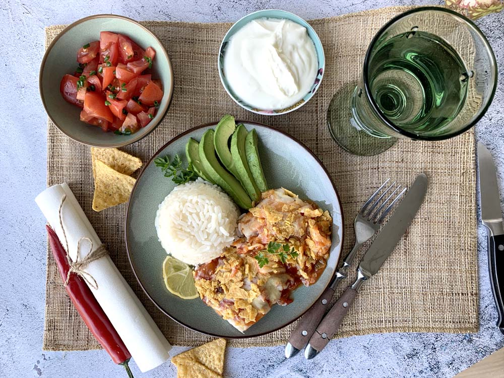 Mexican baked fish (Fisch auf mexikanische Art)