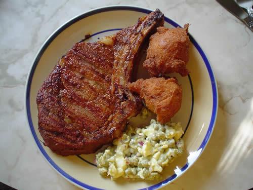 Bourbon-Barbecued Rib-Eye Steaks