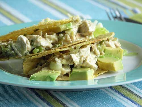 Chicken Tacos mit grüner Soße