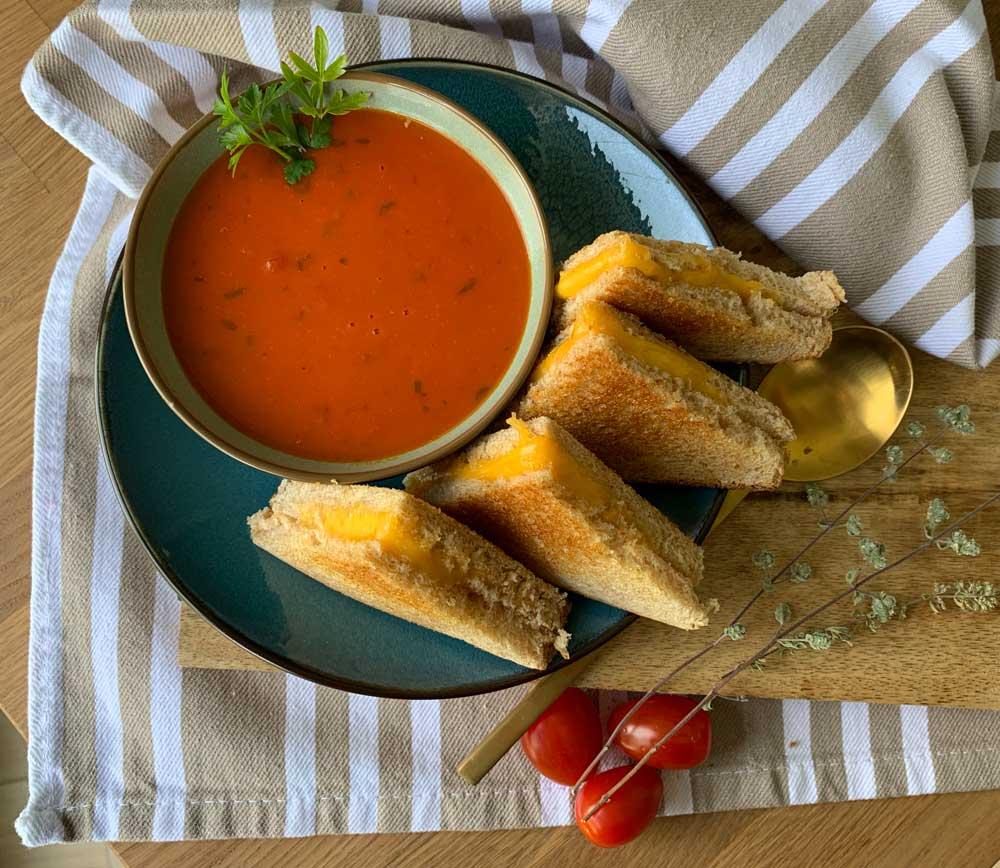 USA-Rezept für Grilled Cheese mit Tomatensuppe