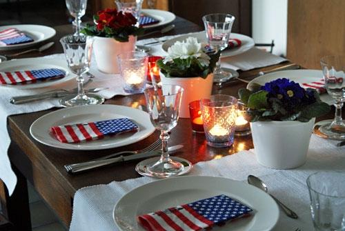 Dekoration für USA-Tisch