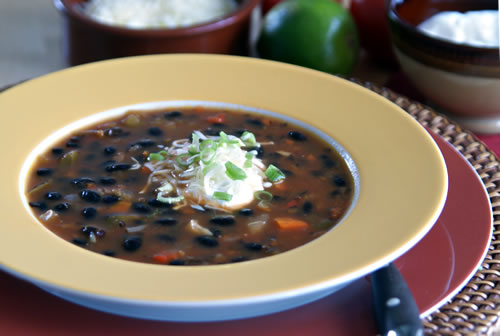 USA-Rezept für Black Bean Soup - Schwarzbohnensuppe
