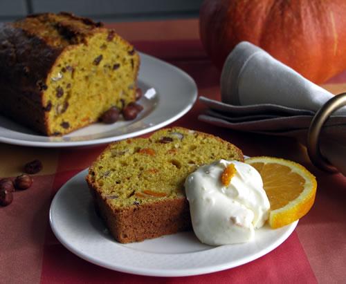 Pumpkin Bread with Orange Cream Cheese (Kürbisbrot)
