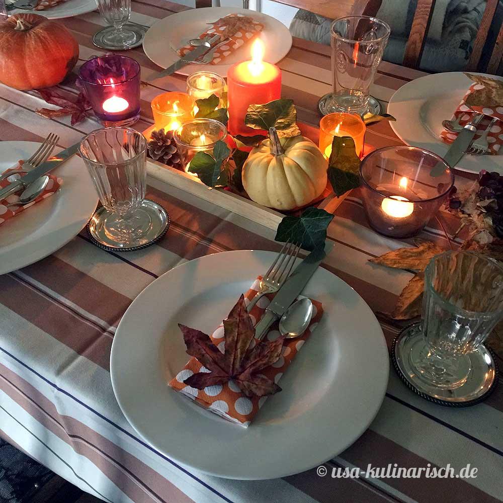 Tischdekoration zu Thanksgiving
