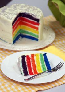 Fertiger Regenbogenkuchen
