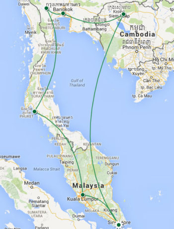Reiseroute Asien