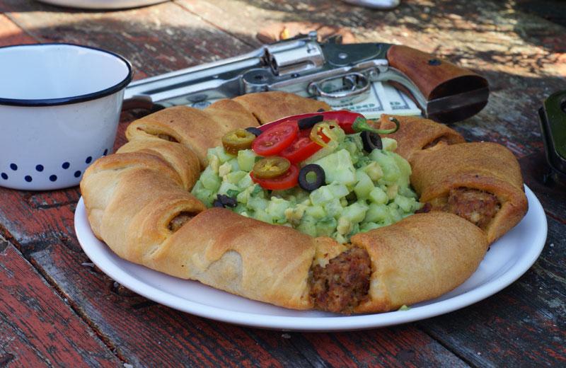 Taco Meatball Ring (gefülltes Brot a la TexMex)