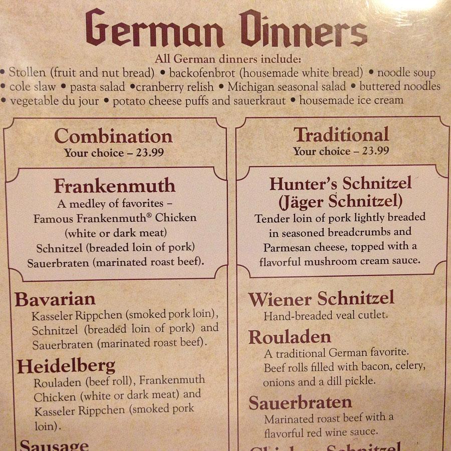 Speisekarte aus Franenmuth