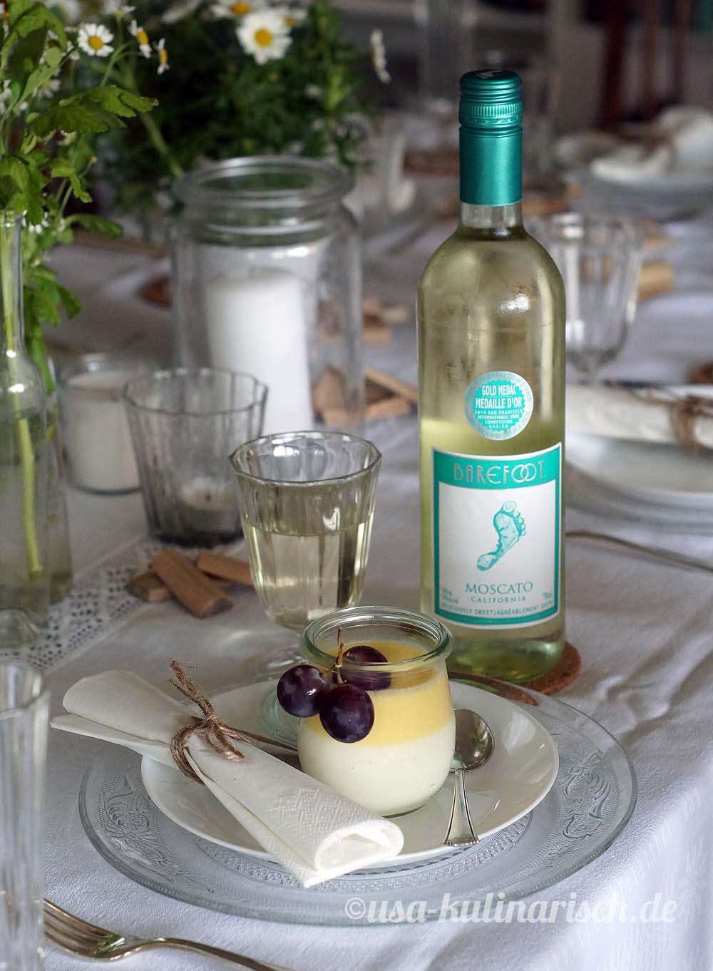 Das Dessert: Welfencreme mit Barefoot Wine Moscato