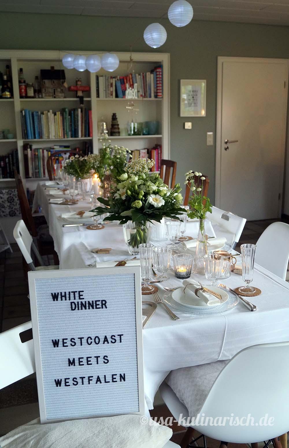 Indoor statt Outdoor - das White Dinner im Wohnzimmer