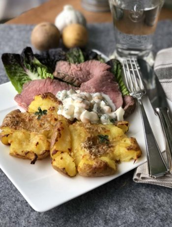 Garlic Smashed Potatoes mit Roastbeef