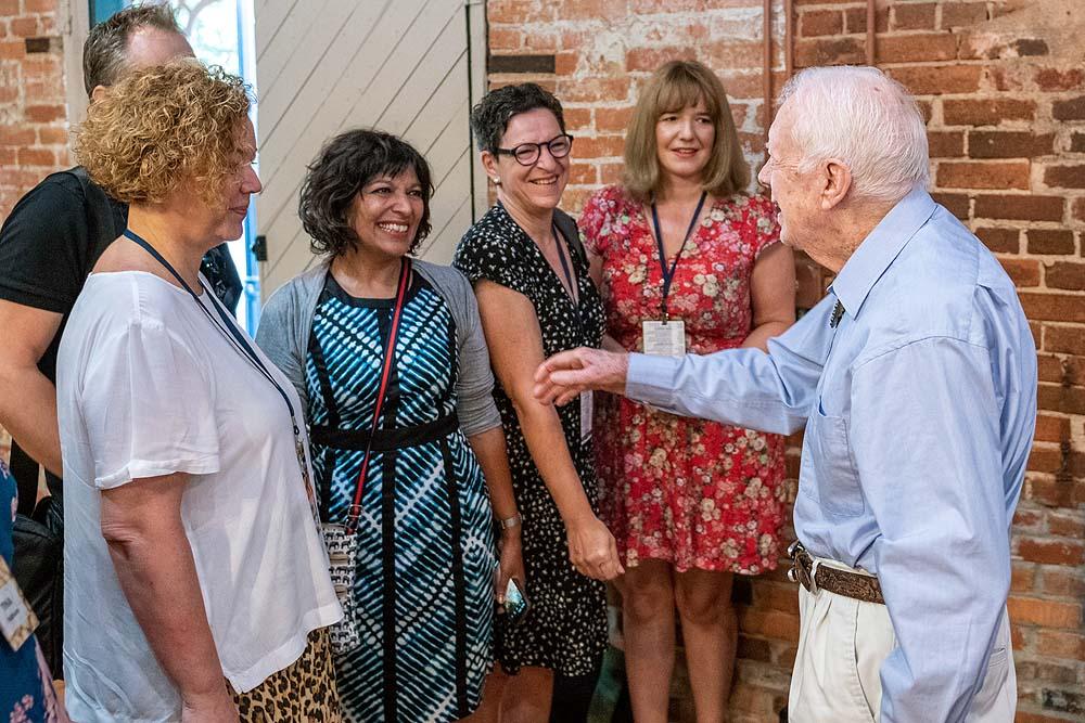Ex-Präsident Jimmy Carter begrüßt unsere Gruppe