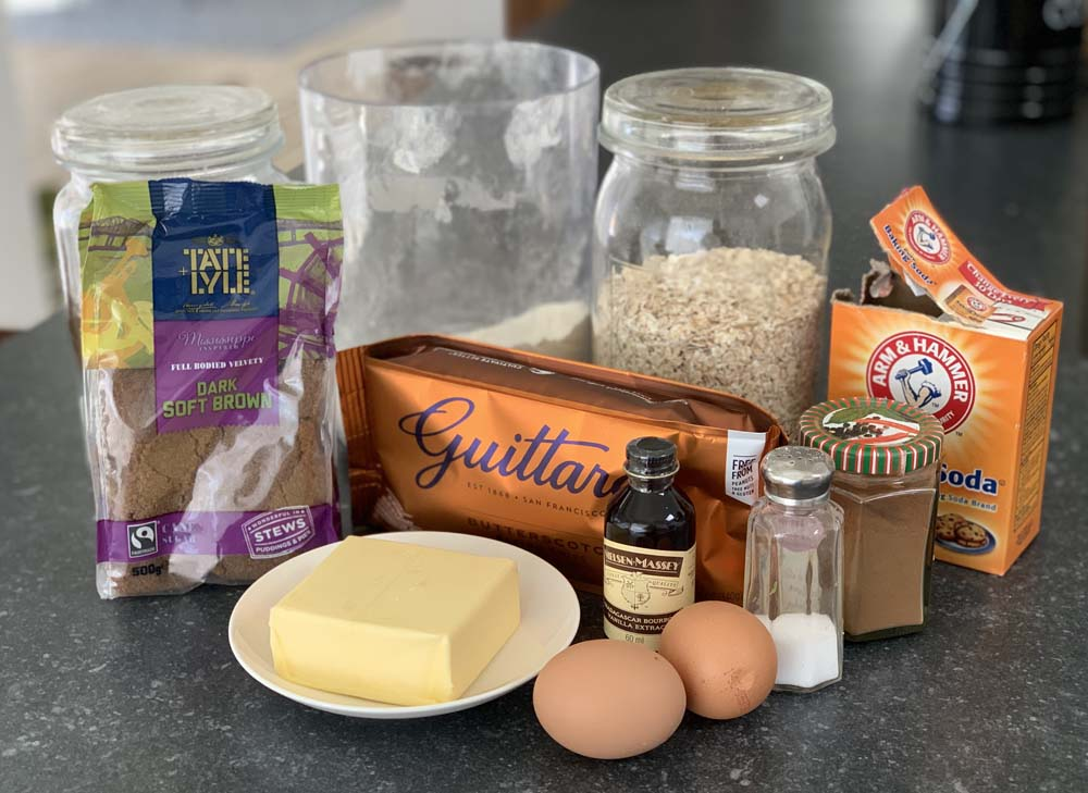 Zutaten für das Butterscotch Cookie Rezept aus den USA