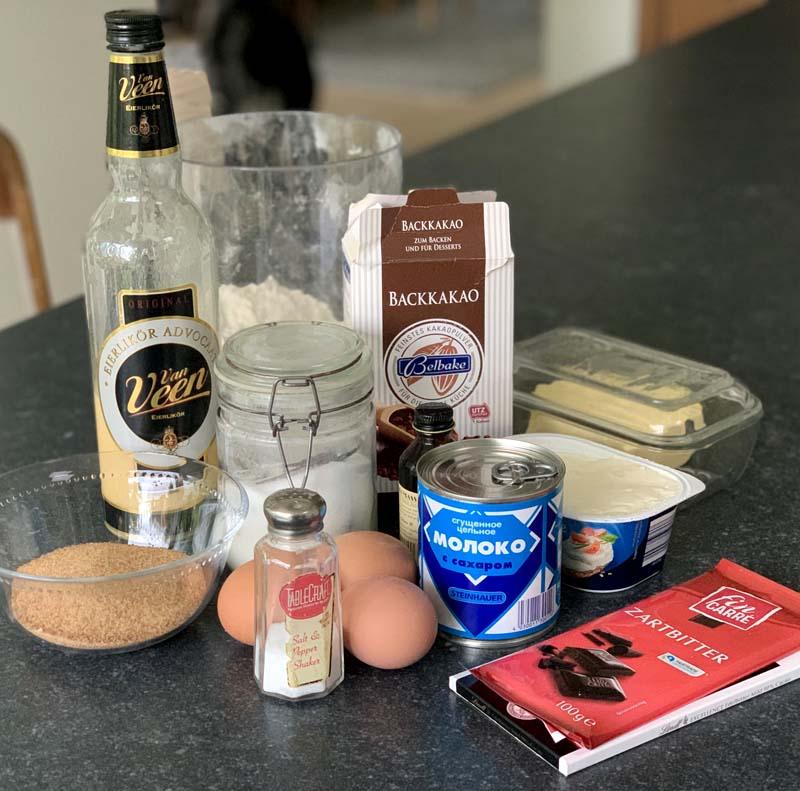 Zutaten für Milchmädchen-Eierlikör-Brownies