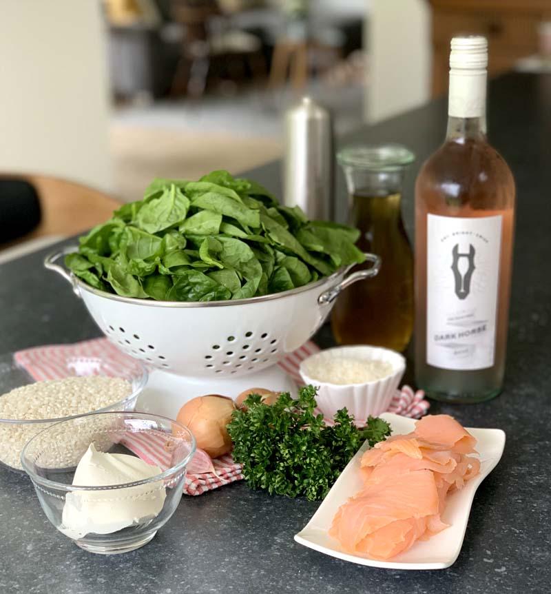 Zutaten für das Spinach Salmon Risotto