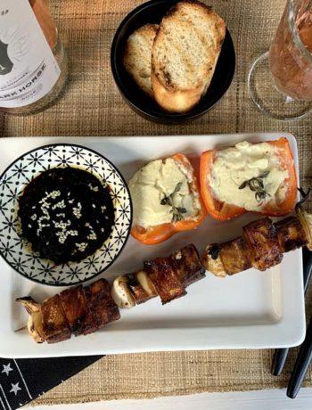 Teriyaki-Grillsauce auf Tofuspießen