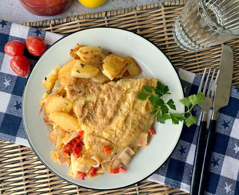 Western Omelette (mit Paprika & Schinken)