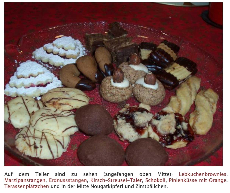 Plätzchenteller 2005 auf Brot und Rosen