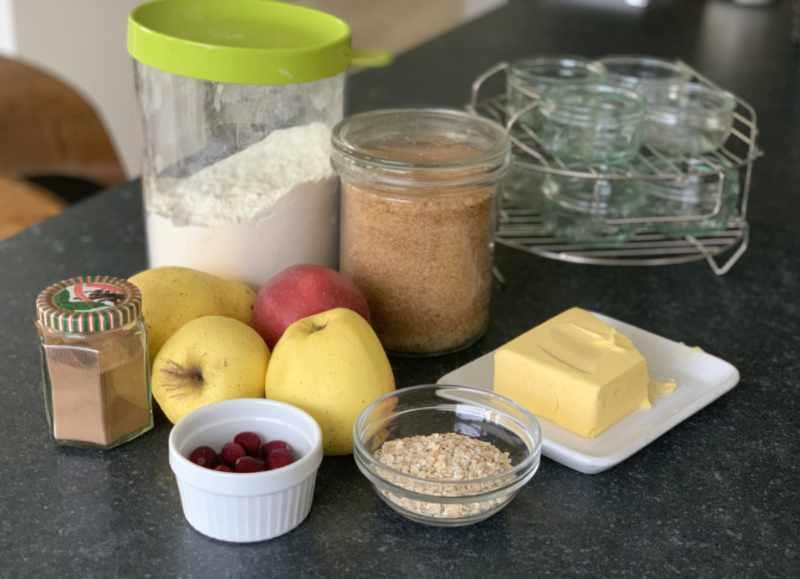 Zutaten für die Mini Apple Pies im Glas