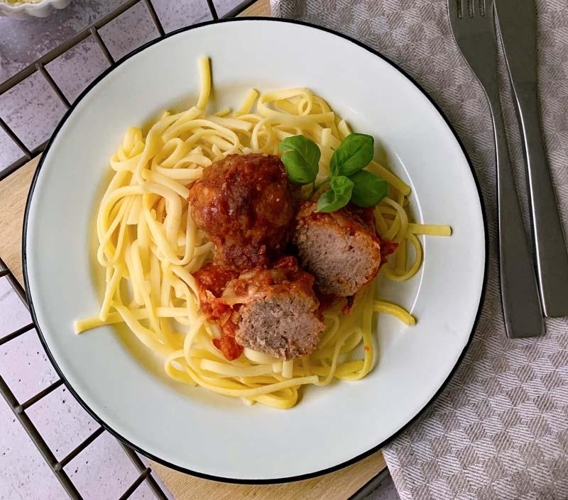 Rezept für pan-baked meatballs
